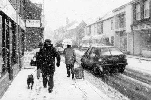 A snowy day in Loughborough town